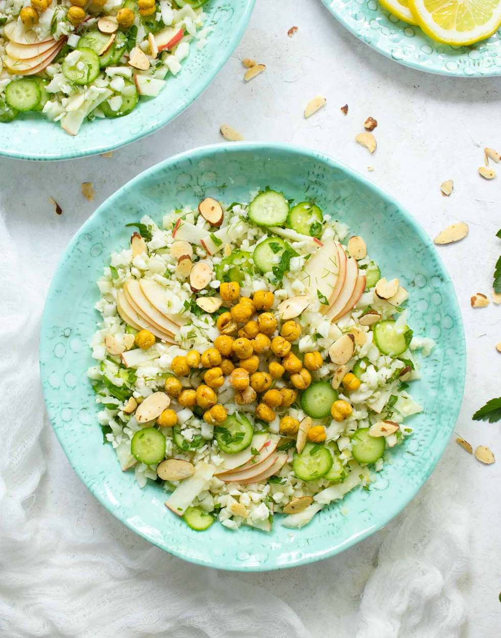 Overhead photo of Summer Cauliflower Power Salad in a turquoise bowl
