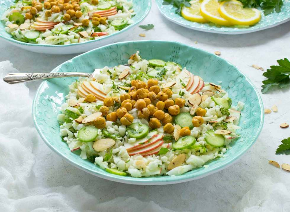 Summer Cauliflower Power Salad in a turquoise bowl