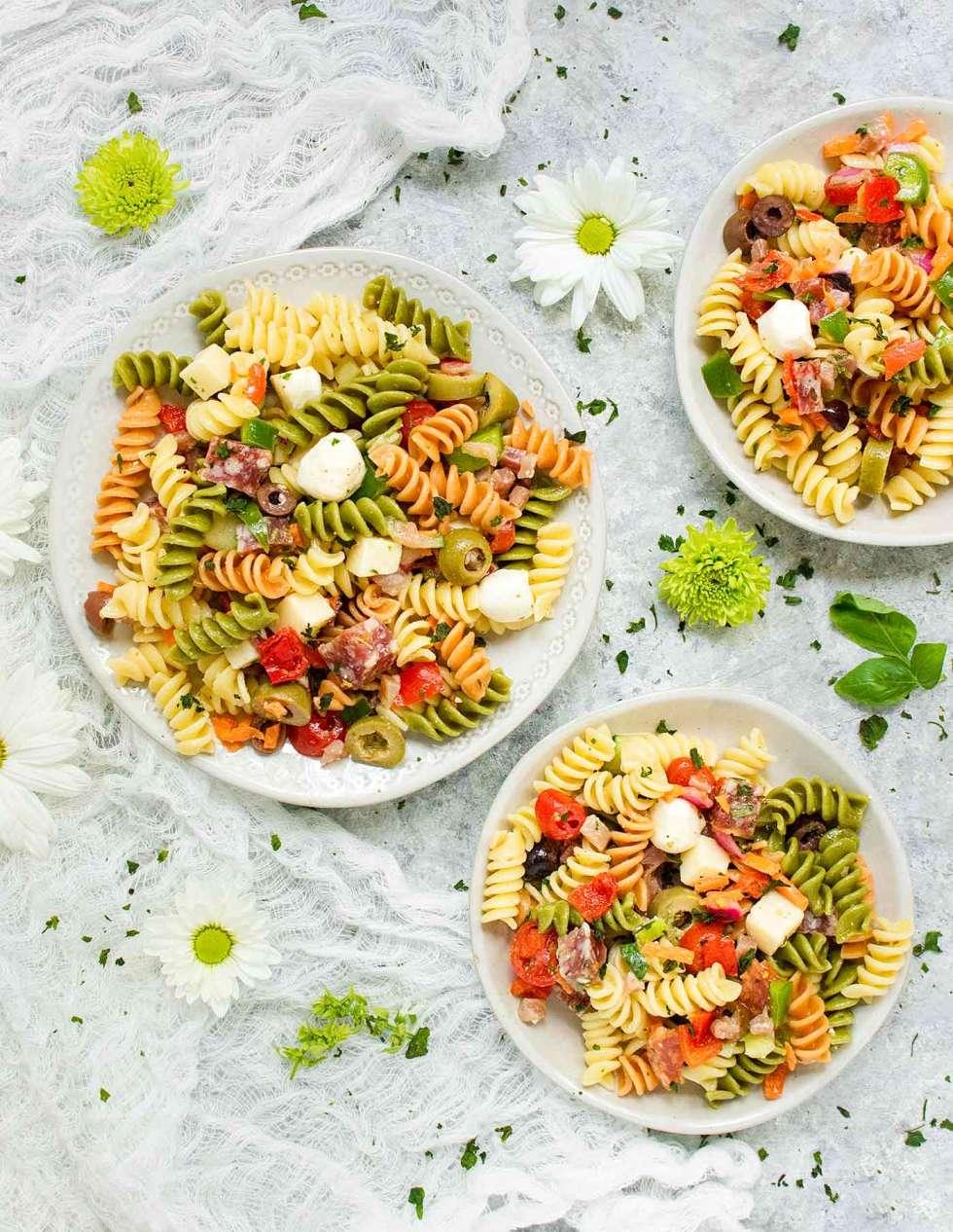 Three plates of Italian Pasta Salad