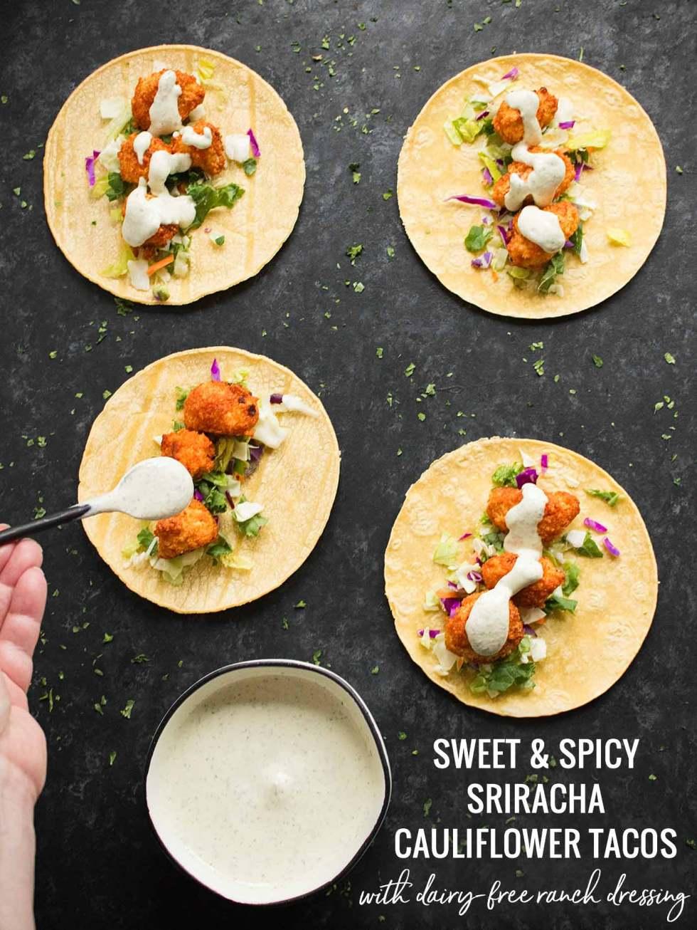 Sweet & Spicy Cauliflower Tacos - Recipe at SoupAddict.com