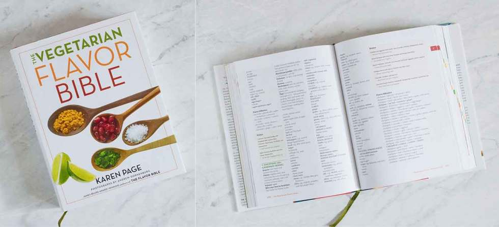 Photo of Vegetarian Flavor Bible cover and inside page