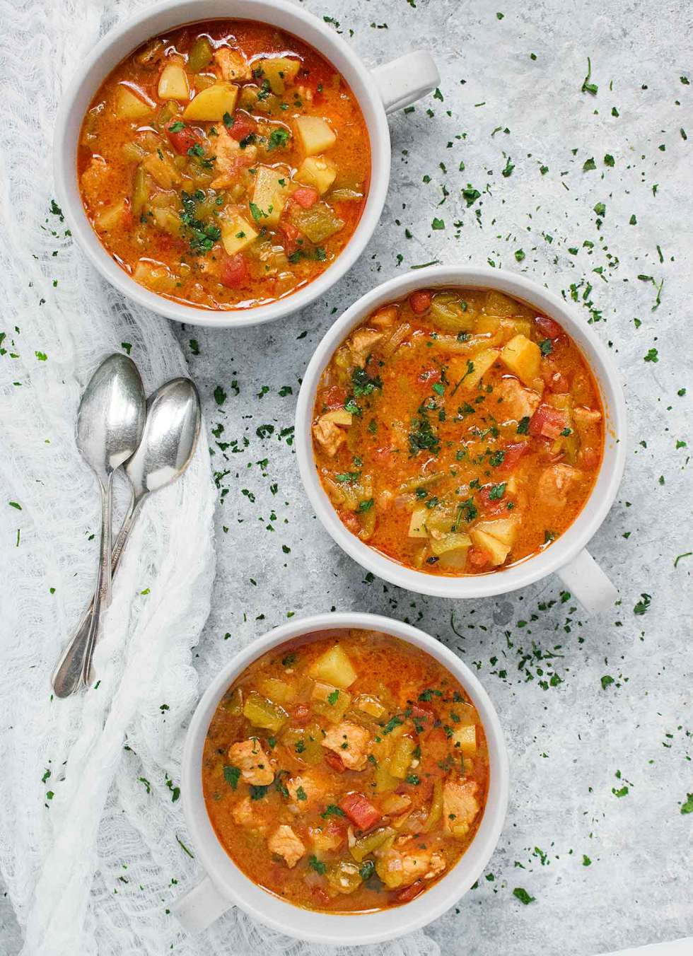 Three bowls of Green Chile Stew