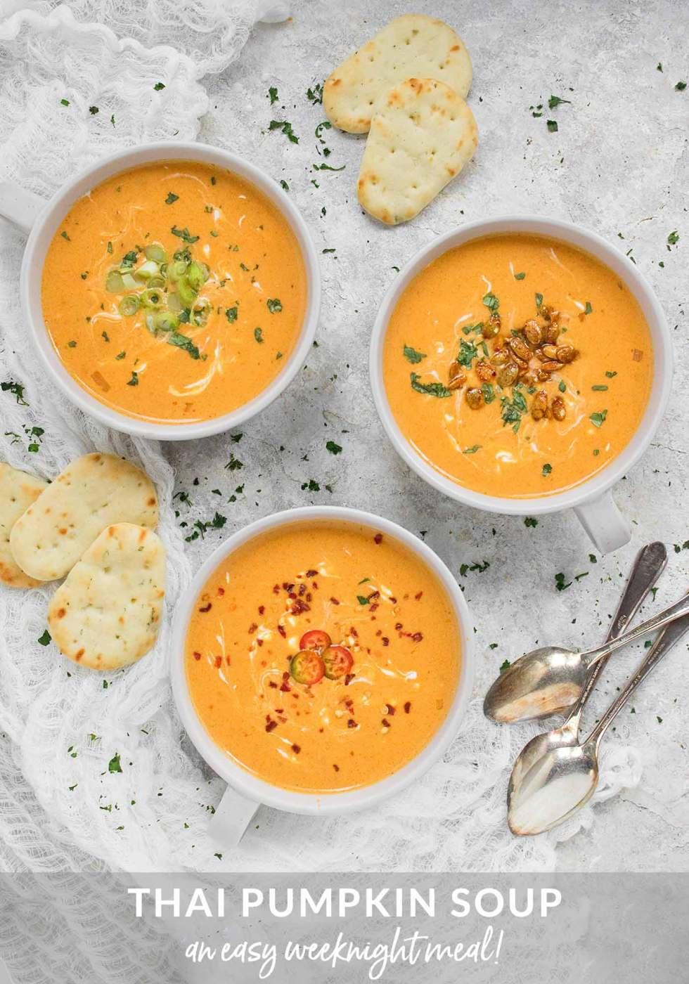 Three bowls of Thai Pumpkin Soup