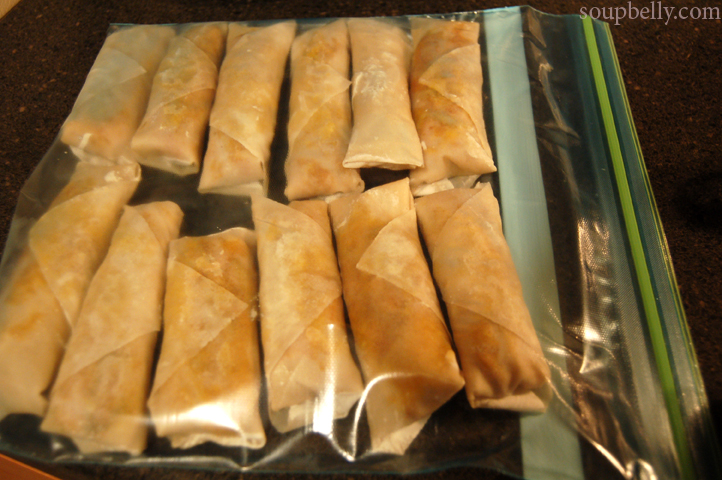 Spring rolls – freezing and storage