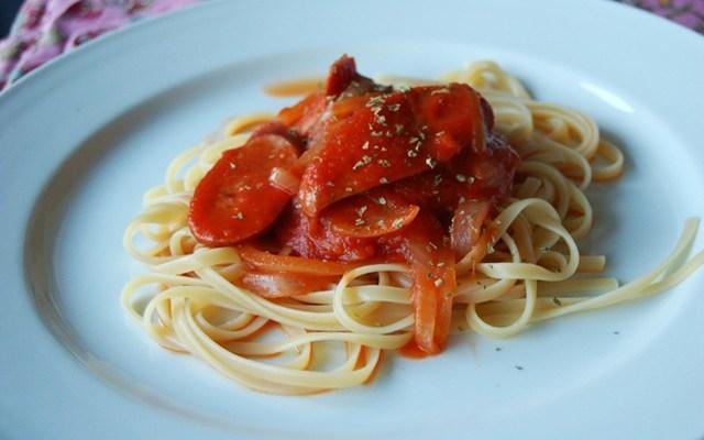 Pasta with Smoked Turkey Sausage and Onions