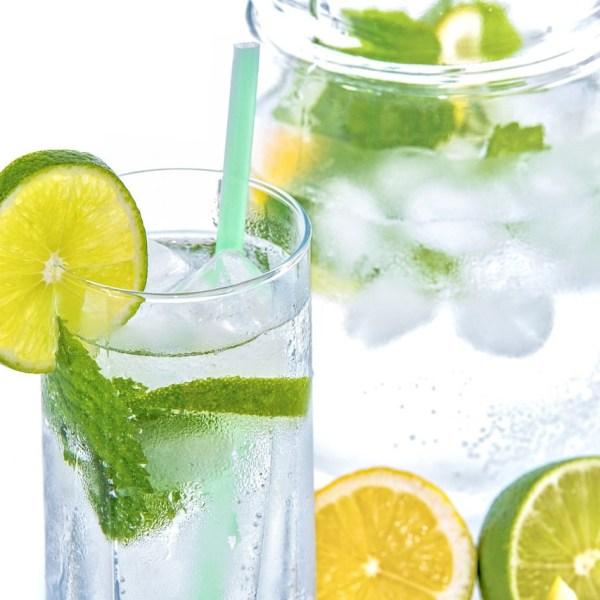Glas und Karaffe mit Infused Water Minze Zitrus