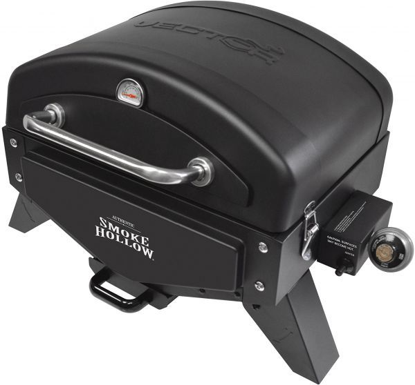 smoke hollow vector series portable table gas grill with warming rack vt280b1