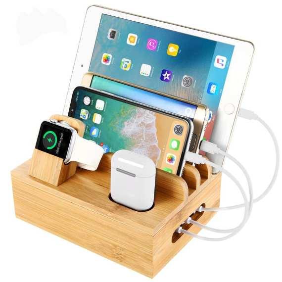 Multifunctional Mobile Phone Holder Stand Bamboo Station Dock Desktop Docking Station Organizer For Phone Smart Watch Tablet