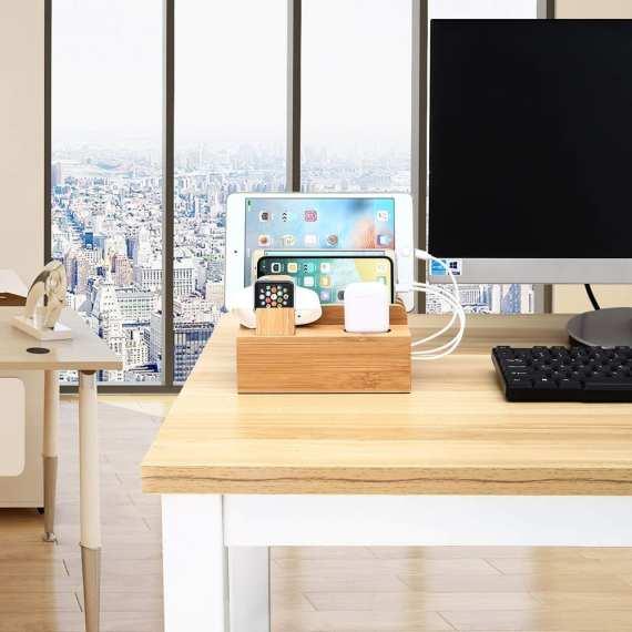 Multifunctional Mobile Phone Holder Stand Bamboo Station Dock Desktop Docking Station Organizer For Phone Smart Watch Tablet 1