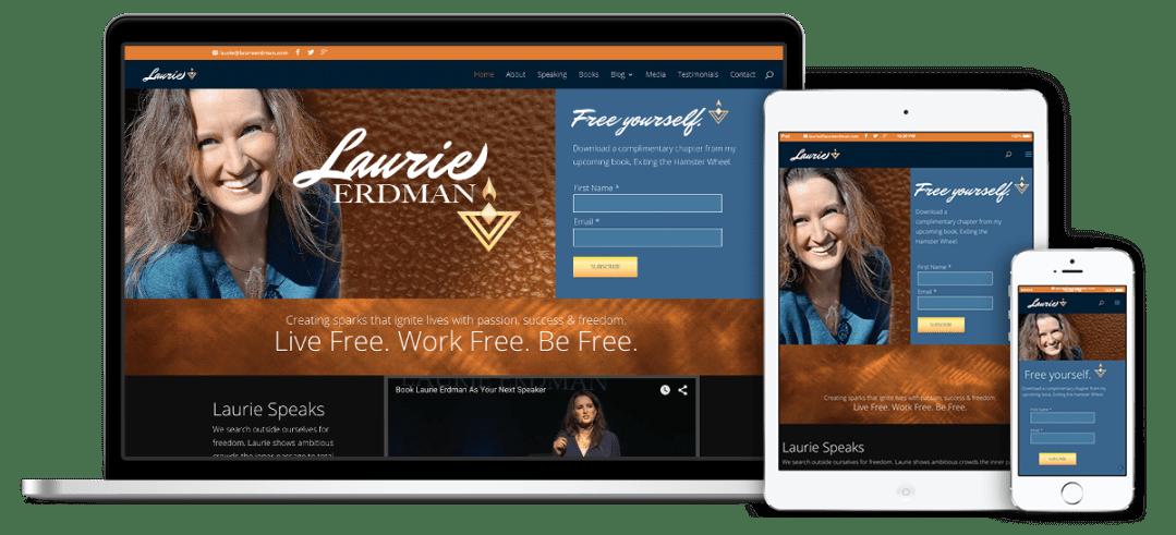 Laurie Erdman's website on multiple devices