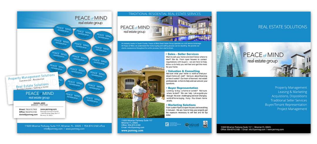 Peace of Mind Real Estate print design
