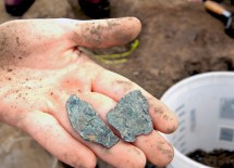 Evidence and artifacts found at Mound 34 indicate the building hosted a particular group, probably for the purpose of hunting or warfare. (David Kilper)