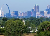 From the top of Monks Mound, one can see a view of downtown St. Louis. Hundreds of years ago, neighboring mound societies existed in East St. Louis and across the river in St. Louis. (David Kilper)