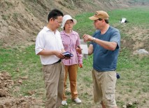 Professor T.R. Kidder was invited by Liu Haiwang, PhD (left), senior researcher at China's Henan Provincial Institute of Cultural Relics and Archaeology, to work on excavations at Sanyangzhuang. Doctoral students, such as Li Minglin (center), are participating in the research as well. (Courtesy Photo)