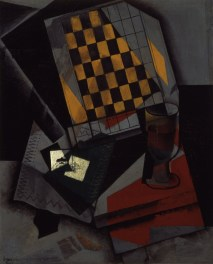 "Juan Gris (Spanish, 1887–1927), ""Damier et cartes à jouer (Checkerboard and Playing Cards),"" 1916. Oil on canvas, 28 7/8 x 23 3/4"". Mildred Lane Kemper Art Museum, Washington University in St. Louis. University purchase, Kende Sale Fund, 1946."
