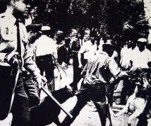 """Andy Warhol (American, 1928–1987), """"Birmingham Race Riot,"""" from the portfolio """"X + X (Ten Works by Ten Painters),"""" 1964. Screen print, 219 / 500, 20 x 24"""". Mildred Lane Kemper Art Museum, Washington University in St. Louis. University acquisition, 1970. © 2016 The Andy Warhol Foundation for the Visual Arts, Inc. / Artists Rights Society (ARS), New York."""