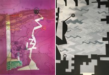 """Carmon Colangelo, """"Mauve Sensing Green"""" (left) and """"Remote Sensing"""" (right), 2016. Monotype relief prints, 47"""" x 35."""""""