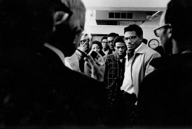 Members of the Association of Black Students gather in Brookings Hall in December 1968. (Washington University Archives)
