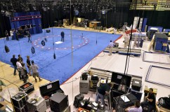 Construction of the debate set in the Athletic Complex. Photo: Ria Han