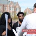 Black lives matter protestors talk to reporters. Photo: Ria Han
