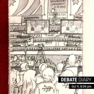 Media Filing Center, during the debate. Artist: Susan Lee
