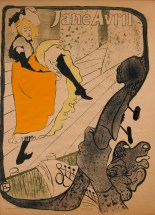 "Henri de Toulouse-Lautrec (French, 1864–1901), ""Jane Avril,"" 1893. Color lithograph, 51 3/16 x 37"". Mildred Lane Kemper Art Museum, Washington University in St. Louis. Gift of John F. Lesser in memory of Jenny Nathan Strauss, 2000."