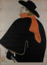 "Henri de Toulouse-Lautrec (French, 1864–1901), ""Aristide Bruant, dans son cabaret (Aristide Bruant, in His Cabaret),"" 1893. Lithograph, 54 1/2 x 39 1/16"". Private Collection."