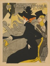 "Henri de Toulouse-Lautrec (French, 1864–1901), ""Divan Japonais,"" from the series ""Les Mâitres de l'Affiche (Masters of the Poster),"" 1893, published 1896. Lithograph, 15 3/4 x 11 1/2"". Mildred Lane Kemper Art Museum, Washington University in St. Louis. Gift of Melissa Henyan Redler, 1981."