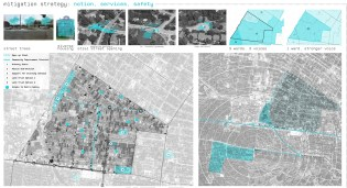 """St. Louis' once-prosperous West End neighborhood experienced a traumatic racial transition in the 1950s and 1960s. By the 1990s, it was pockmarked with vacant and dilapidated properties. Though in recent years the West End has had an influx of affluent whites, it still suffers from high rates of poverty, chronic disease and crime. The """"Segregation by Design"""" team — Craig Davila, Montez Miles, Kaety Prentice and Shelbey Sill — sought ways to maintain revitalization momentum and strengthen relationships with surrounding communities without leading to gentrification and displacement. Mentors were Kevin McKinney, executive director of SLACO, and Duane Thompson, project manager for the St. Louis Design Alliance."""