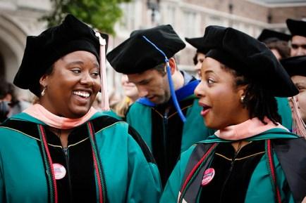 Graduate students celebrate Washington University's 156th Commencement. (Photo: Joe Angeles/Washington University)