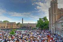 Brookings Quadrangle is full of graduates and well-wishers. (Photo: Washington University)