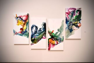 "Meelee Ahn, ""갈래갈래 Galeh-galeh,"" 2017. Acrylic on canvas, 4 panels. (Photo: James Byard/Washington University)"