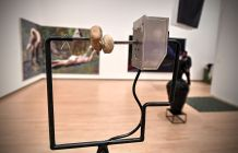 """Colton Carter, """"Contemplation of a Place Slow and Constant,"""" 2017. Stones, motor, steel, wood and photograph. (Photo: James Byard/Washington University)"""