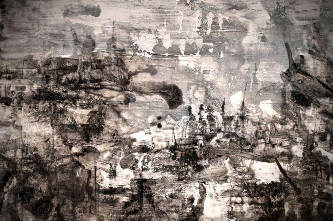 "Moon Kim, detail from ""Somewhere, There,"" 2017. Mixed media on canvas, 2 panels. (Photo: James Byard/Washington University)"