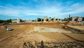 Brookings behind construction zone dirt