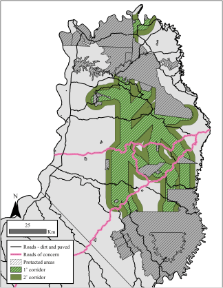Click to enlarge: The habitat study's proposed multispecies habitat corridors would link protected areas in the northern-central zones of Misiones, Argentina. The corridor was narrowed and divided into two levels that could be used to set conservation priorities: a 1° (7 km width) and a 2° (14 km width) corridor. Maps courtesy of PLoS One.
