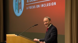 Chancellor Wrighton delivers remarks at the second annual Day of Discovery & Dialogue, a universitywide event to explore issues of diversity and inclusion, on Feb. 24, 2016, at the School of Medicine.