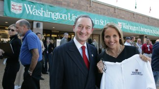 Chancellor Wrighton greets journalist Katie Couric before the 2008 Vice Presidential Debate. During Wrighton's tenure, Washington University hosted a total of three presidential debates and one vice presidential debate.