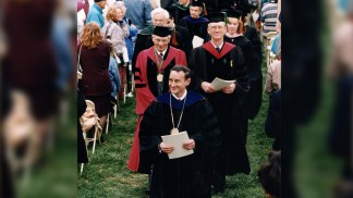 Chancellor Wrighton smiles in Brookings Quadrangle at his inauguration ceremony Oct. 6, 1995.