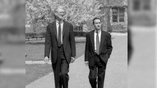 Chancellor William H. Danforth takes future Chancellor Wrighton on a tour of the campus in April 1995.