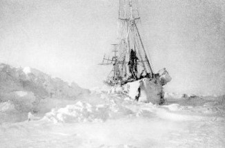 A ship stuck in ice in the arctic