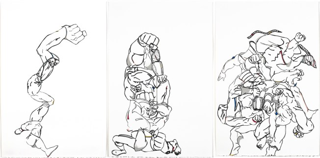 "Three works by Orly Genger. From left to right: ""Sprint,"" ""Squat"" and Struggle"" (all 2017). Six-color silkscreens on Revere paper, each 22 1/2 x 15"". Mildred Lane Kemper Art Museum, Washington University in St. Louis. Gift of Island Press."