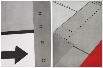 """Two works by Nina Katchadourian. From left: """"Window Seat Suprematism 4"""" and """"Window Seat Suprematism 2,"""" both 2014. Series all 16"""" x 13"""" paper size, 14"""" x 11"""" plate size, etching and aquatint. Courtesy of Island Press."""