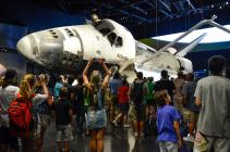 The Space Shuttle Atlantis on view at the Kennedy Space Center Visitor Complex in Florida. Exhibition design by PGAV Destinations, the firm led by alumnus Mike Konzen. (Courtesy PGAV Destinations)