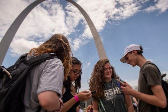 High school students in the Architecture Discovery and Portfolio Plus programs at the Sam Fox School of Design & Visual Arts gathered for a tour of the Gateway Arch in downtown St. Louis on July 15. (Photo: Sid Hastings/Washington University)