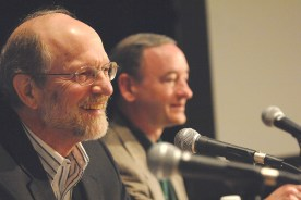 Washington University Life Trustee John F. McDonnell (left) and Chancellor Mark S. Wrighton participate in a Board of Trustees strategic planning meeting in 2009. McDonnell served as co-chair of the campaign's initial leadership phase with Sam Fox. (Photo: Joe Angeles/Washington University)