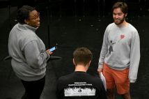 From left: actors Ebby Offord and Camden Sabathne chat with Marschke.