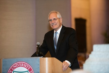During the McDonnell International Scholars Academy Welcome Dinner Aug. 30, Jim Wertsch, outgoing director of the McDonnell Academy addressed the crowd. Chancellor Mark Wrighton gave opening remarks. (Photo: Mary Butkus/Washington University)