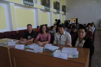 Raymond was among those who helped judge a playwriting competition during her time in Tajikistan.