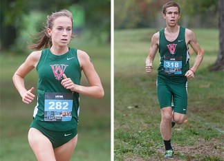 Junior Lucy Cheadle and senior Kevin Sparks were named UAA Runners of the Year. (Mary Butkus)